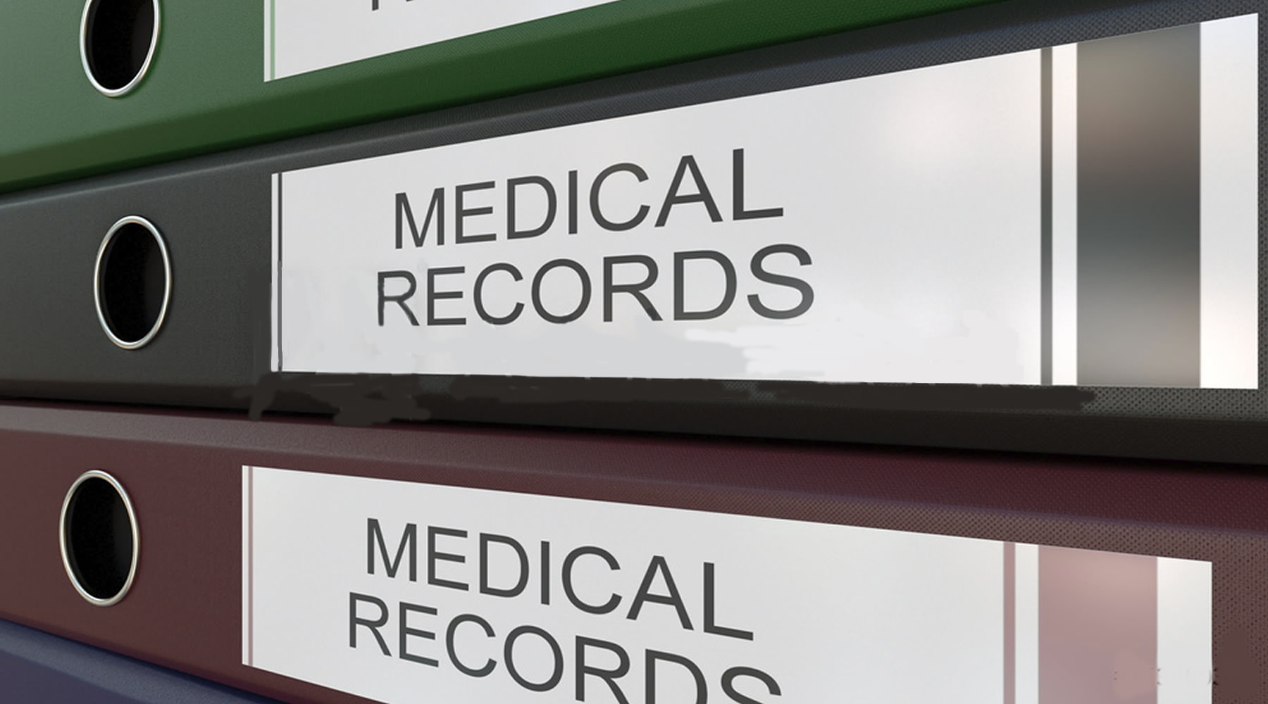 Medical records filed on shelves